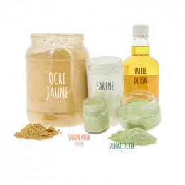 Kit pour 5 litres de peinture à la farine (ocre jaune ou rouge)