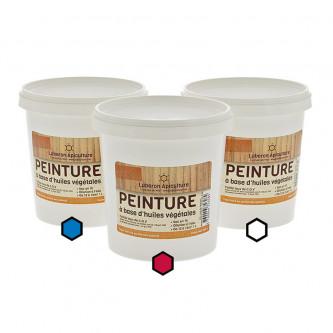 Pack Classique : 3 pots de peinture (bleu, bordeaux, blanc)