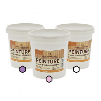 Pack Printanier : 3 pots de peinture (lavande, framboise, blanc)