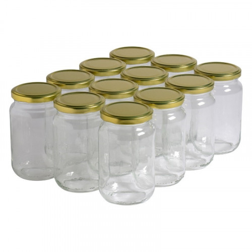 12 pots verre 500g (370 ml) avec couvercle TO 63