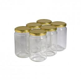 6 pots verre 1kg (750 ml) avec couvercle TO 82