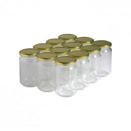 12 pots verre 400g (318 ml) avec couvercle TO 63