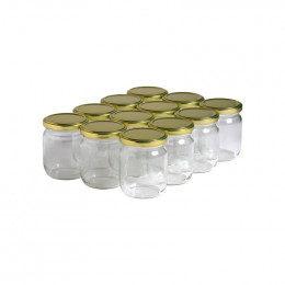 12 pots verre 250g (212 ml) avec couvercle TO 63