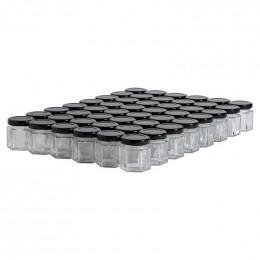 48 pots verre hexagonaux 50g (47 ml) avec couvercle TO 43