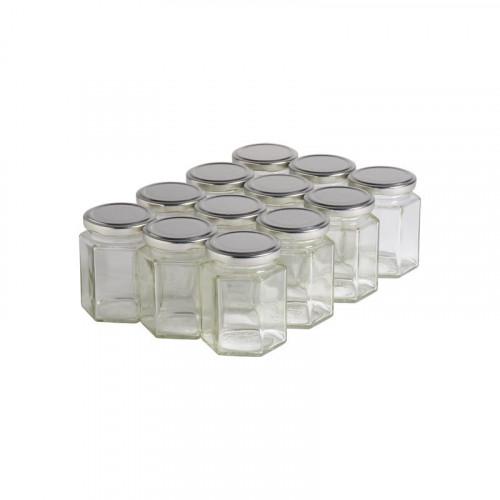 12 pots verre hexagonaux 250g (196 ml) avec couvercle TO 58