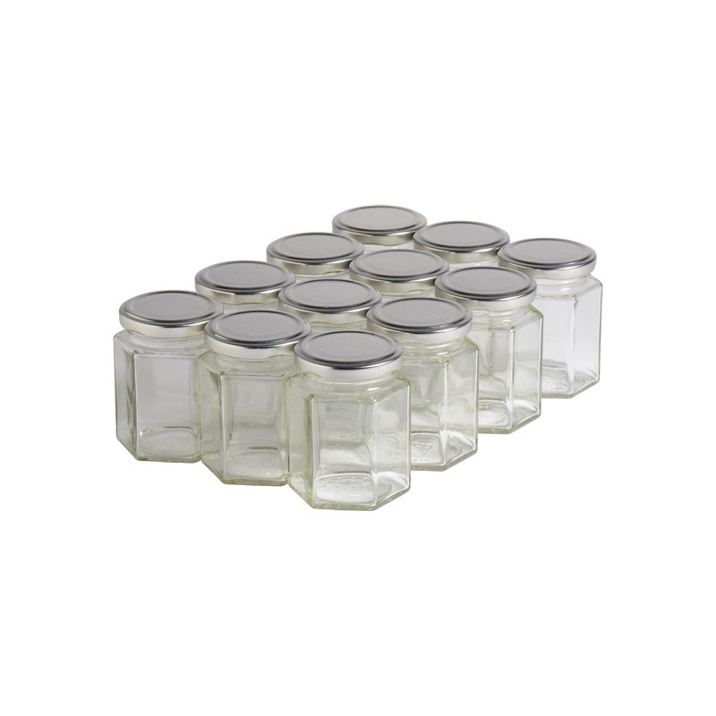 12 pots verre hexagonaux...