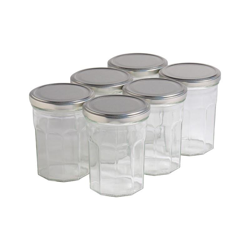 6 pots verre facettes 500g...