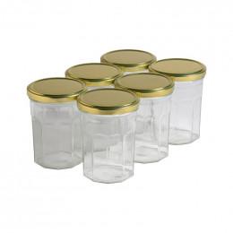6 pots verre facettes 500g (385 ml) avec couvercle TO 82