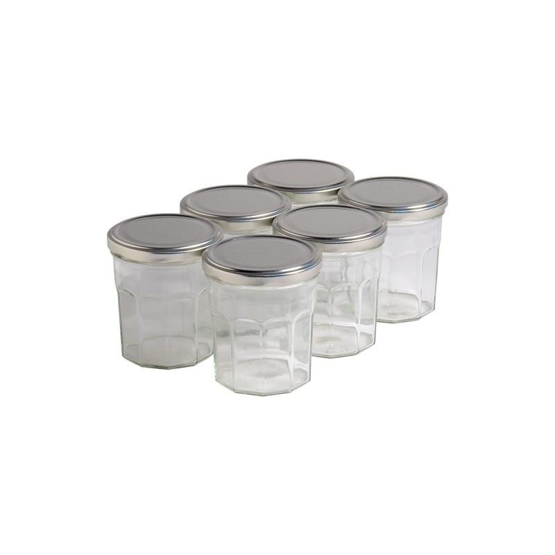 6 pots verre facettes 400g...