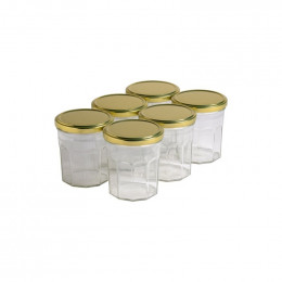 6 pots verre facettes 400g (324 ml) avec couvercle TO 82