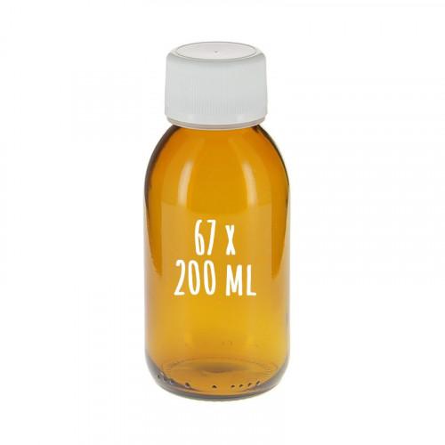 67 flacons sirop brun 200 ml avec bouchon