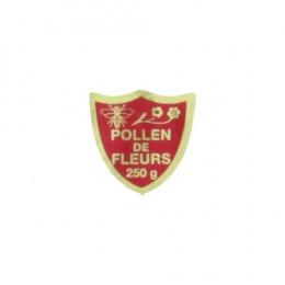 """100 étiquettes blason rouge """"Pollen de Fleurs 250 g"""""""