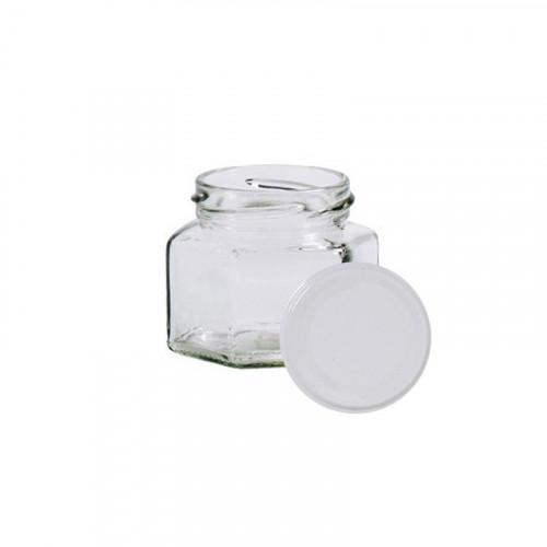 25 pots verre hexagonaux 125g (106 ml) avec couvercle TO 53