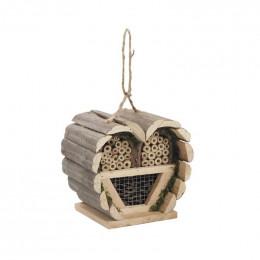 Maison à insectes bois en forme de coeur
