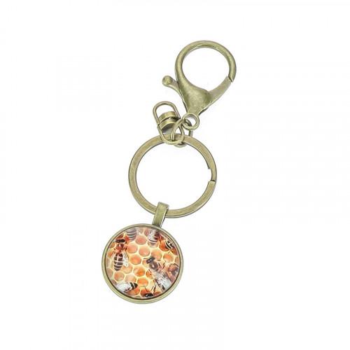 Porte-clés Abeille médaillon bronze