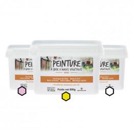 Pack Aquitaine : 3 pots de peinture (framboise, jaune, blanc)