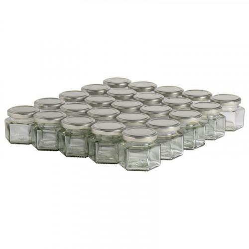 35 pots verre hexagonaux 125g (116 ml) avec couvercle TO 48